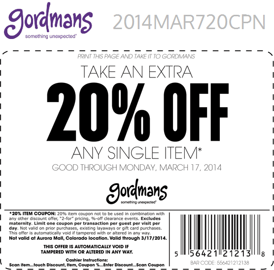 Pinned March 16th Extra 20 Off A Single Item At Gordmans Coupon Via The Coupons App Gordmans Printable Coupons Coupons