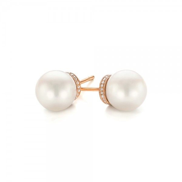 Rose Gold Pearl And Diamond Stud Earrings 103605
