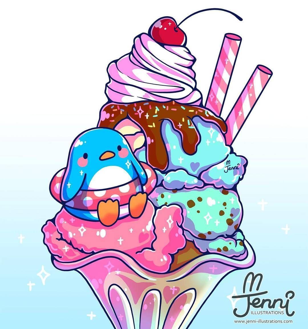 Its Cold Here Yet I Still Drew Some Ice Cream Lol Icecream Penguin Sundae Foodart Jen Cute Kawaii Drawings Cute Animal Drawings Cute Drawings