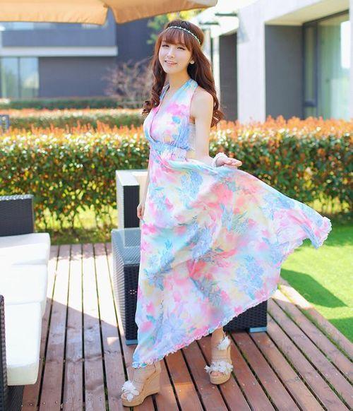 Sexy Women Halter V-Neck Backless Flower Maxi Dress Boho Beach Style Bowtie Ruffles Pleated Ankle-length Dresses
