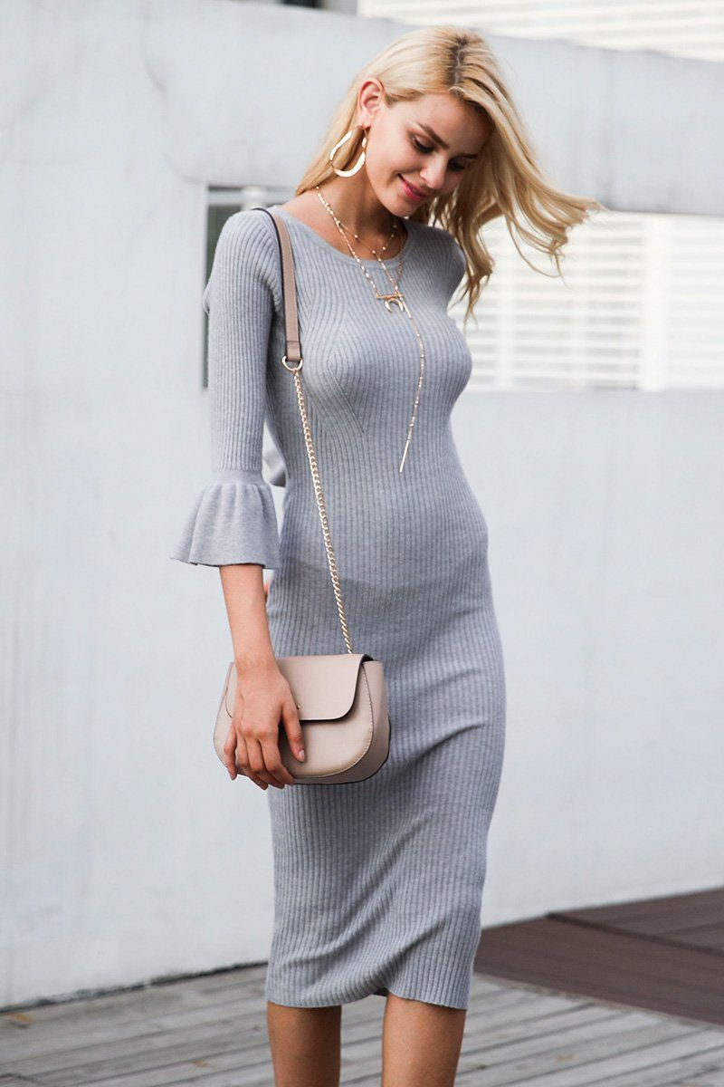 a648e3f03da4e Butterfly Sleeve Knitting Sexy Bodycon Elastic Soft Knee Lenght Cotton Sweater  dress