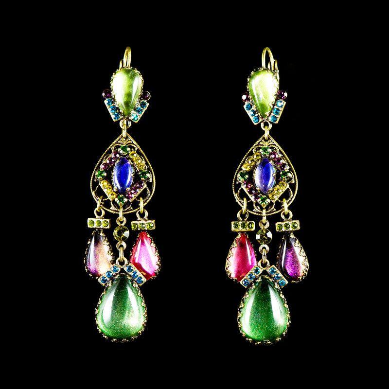 Konplott 'Indian Paradise' Tear Drop Multi Coloured Long Earrings | Alexandra May Jewellery