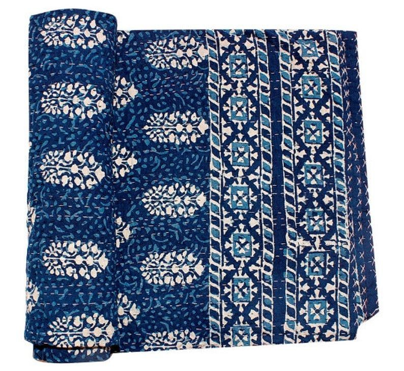 Indian Vintage Indigo Print Kantha Quilt Throw Reversible Cotton Bedspread Gudri