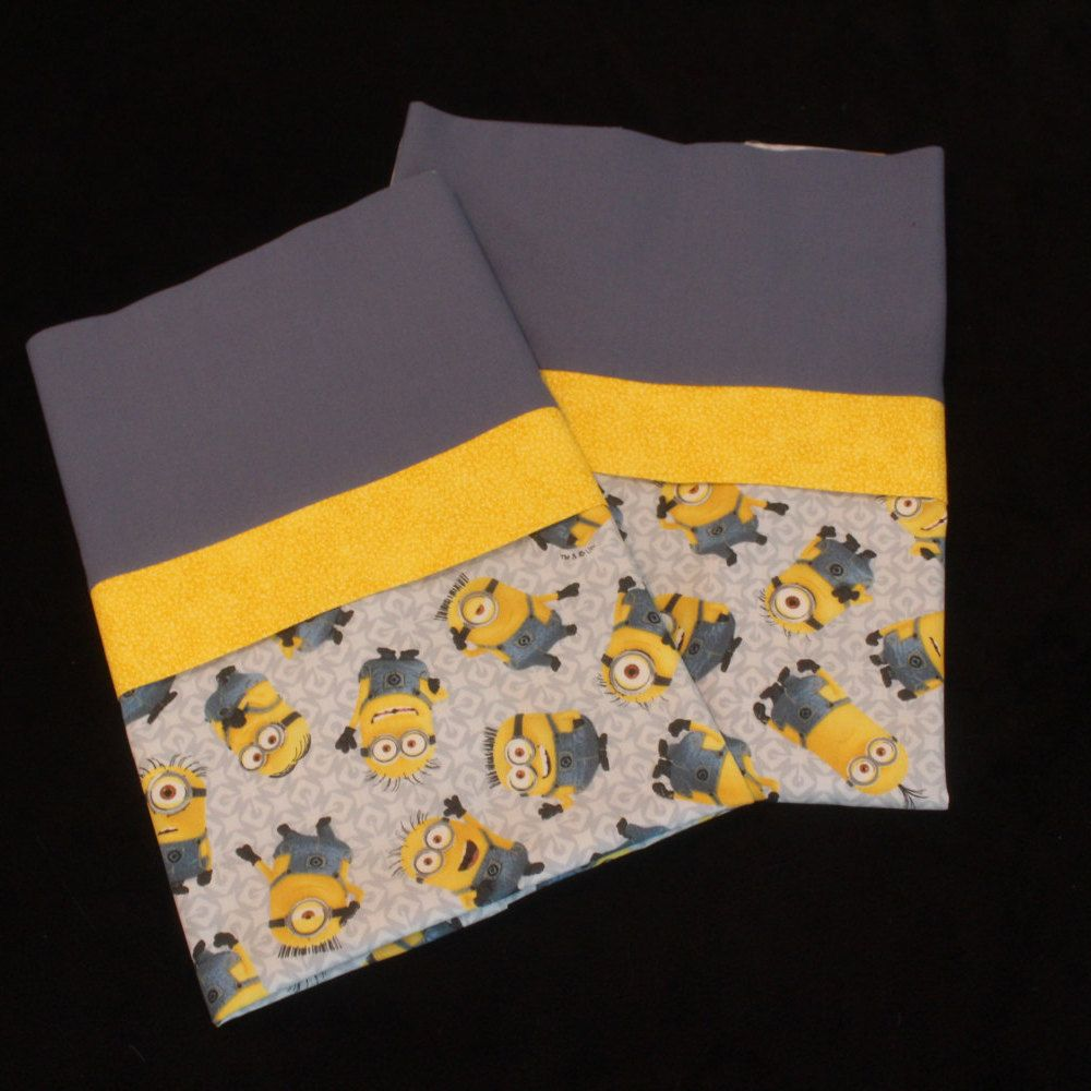 Handmade Minion Pillowcases standard/full SET by Fabricatedwithlove on Etsy