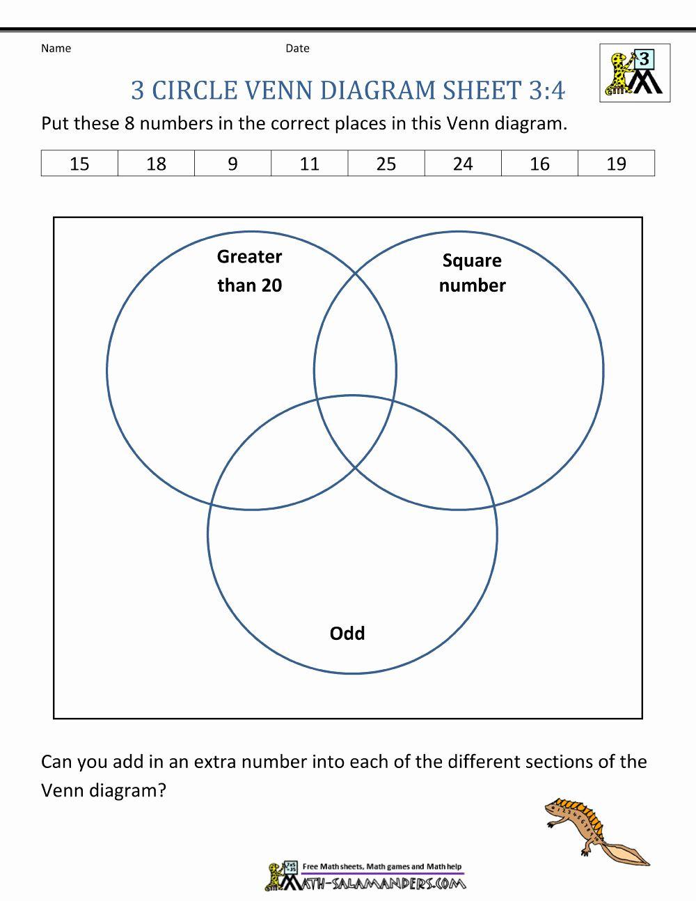 Venn Diagram Worksheets Best Of Venn Diagram Worksheets 3rd Grade Venn Diagram Worksheet Venn Diagram Diagram