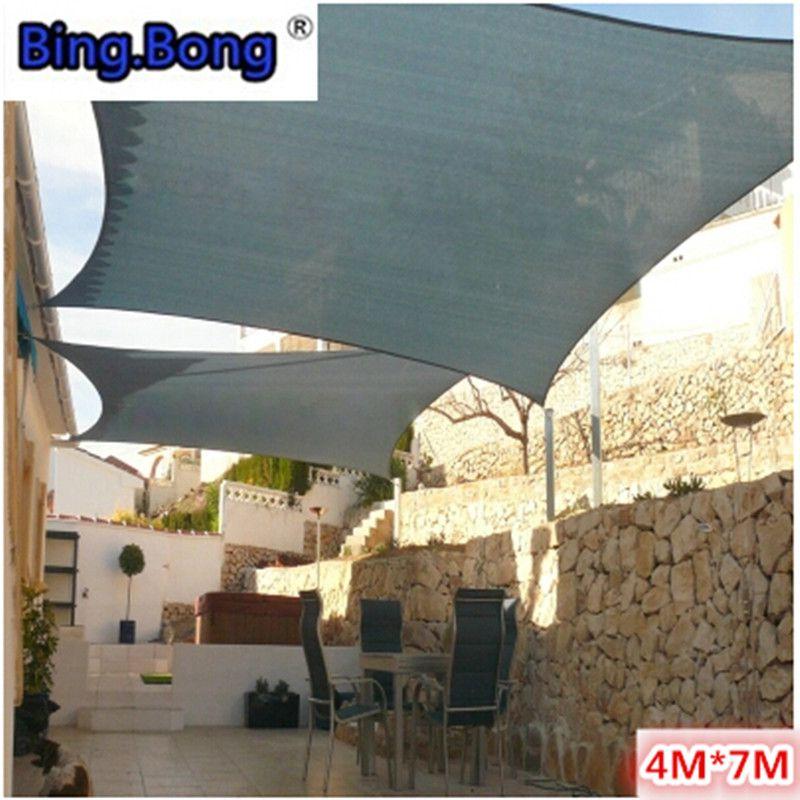 Outdoor 4 7m Sun Shade Sail PU Polyester Waterproof Cloth Gazebo Awning  Canopy Quality Shading Garden