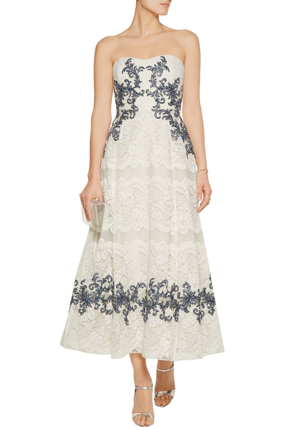 Shop on-sale Marchesa Notte Embellished lace midi gown. Browse other ...