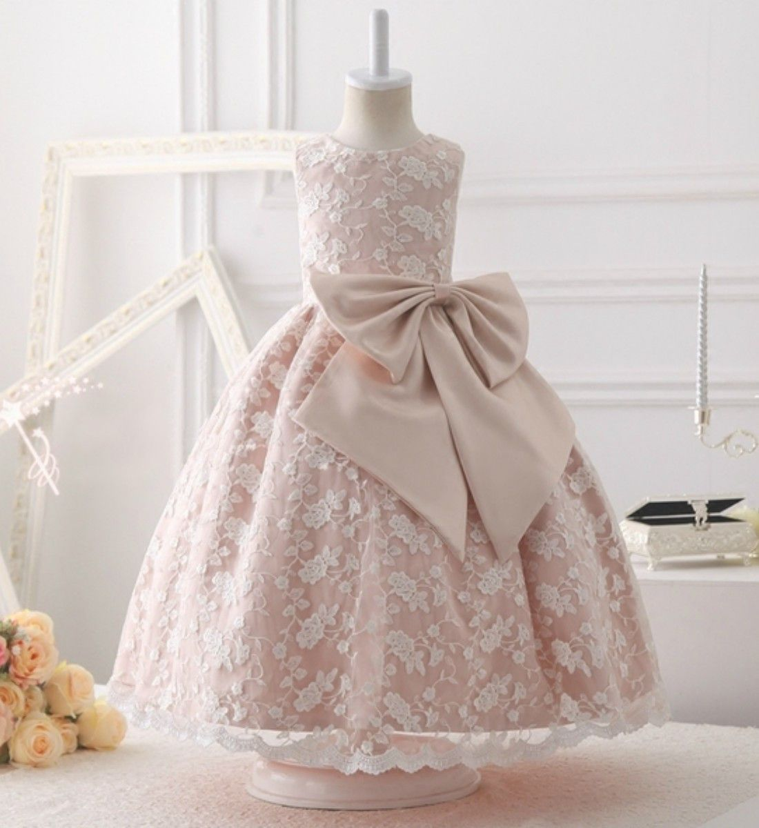 Embroidery lace gown embroidery gowns and big bows