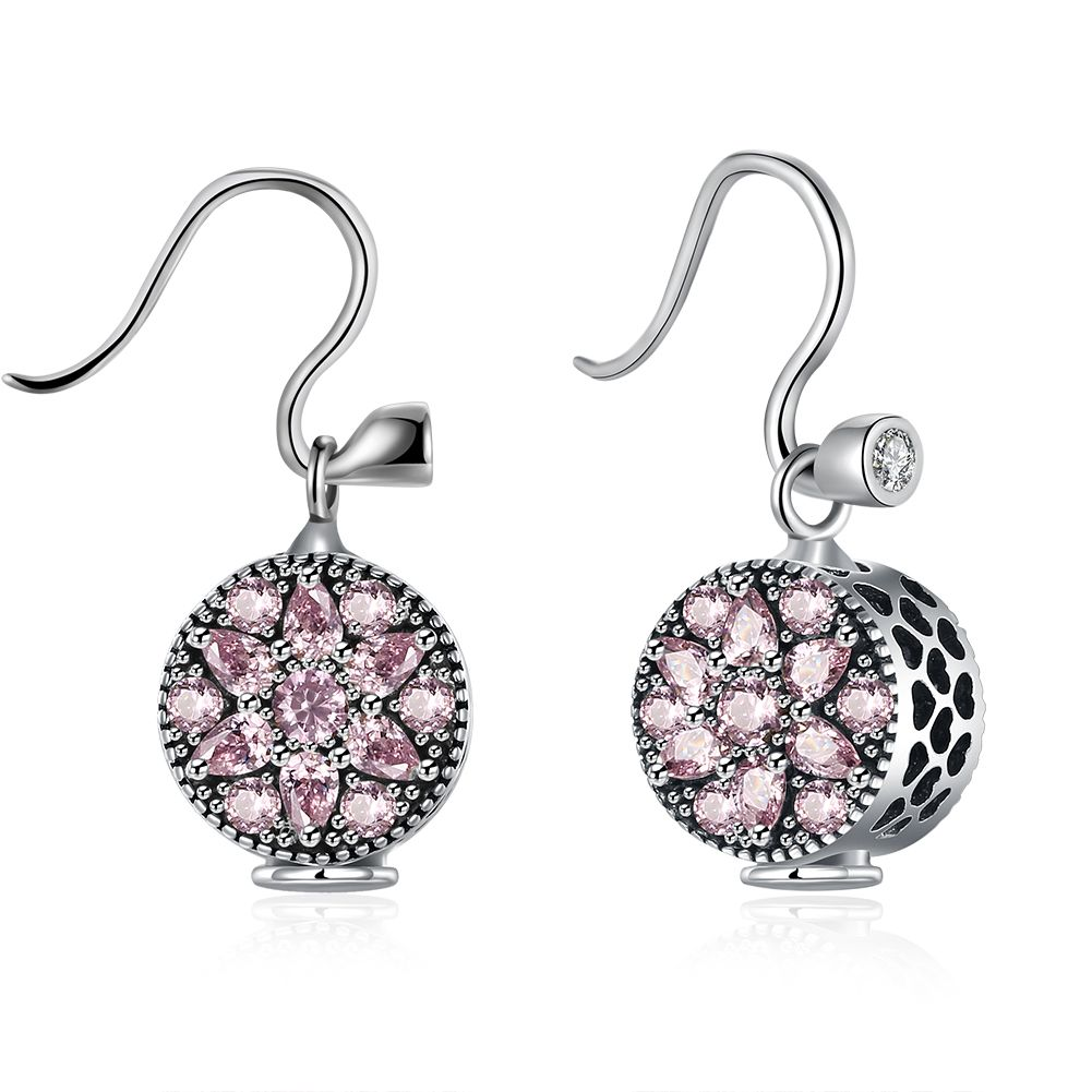 e18464063 Click to Buy << XU 925 Sterling Silver Pink Zircon Inlaid Eardrop Women's  Delicate Six-pointed Star Luxury Lovely Dazzling Jewelry E007 #Affiliate