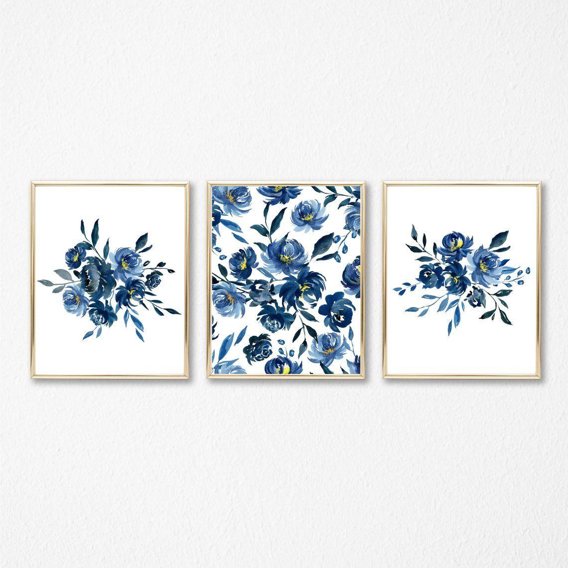 Winter Blue Floral 11x14 Set Of 3 Wall Art Instant Etsy In 2021 Floral Wall Art Framed Floral Prints Printable Wall Art