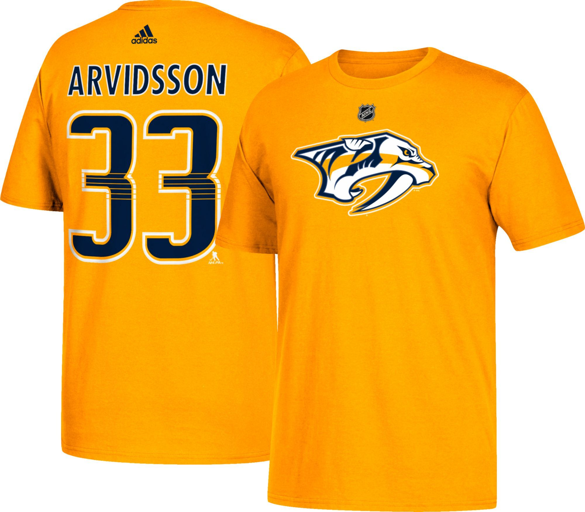 check out 81474 5263d adidas Men's Nashville Predators Viktor Arvidsson #38 Gold T ...