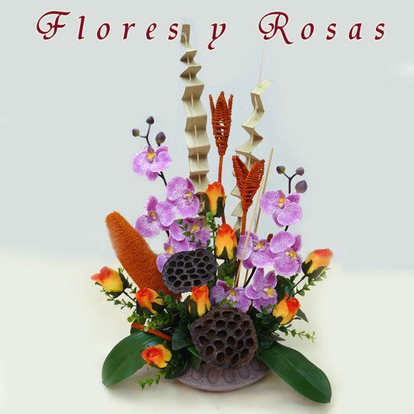 Centros de #flores artificiales con #orquídeas #decoraconorquideas