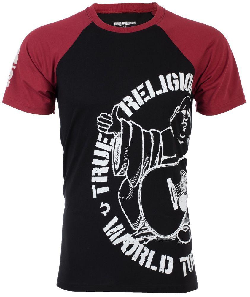 True Religion Mens T Shirt Part Buddha Raglan Black Red Sleeves