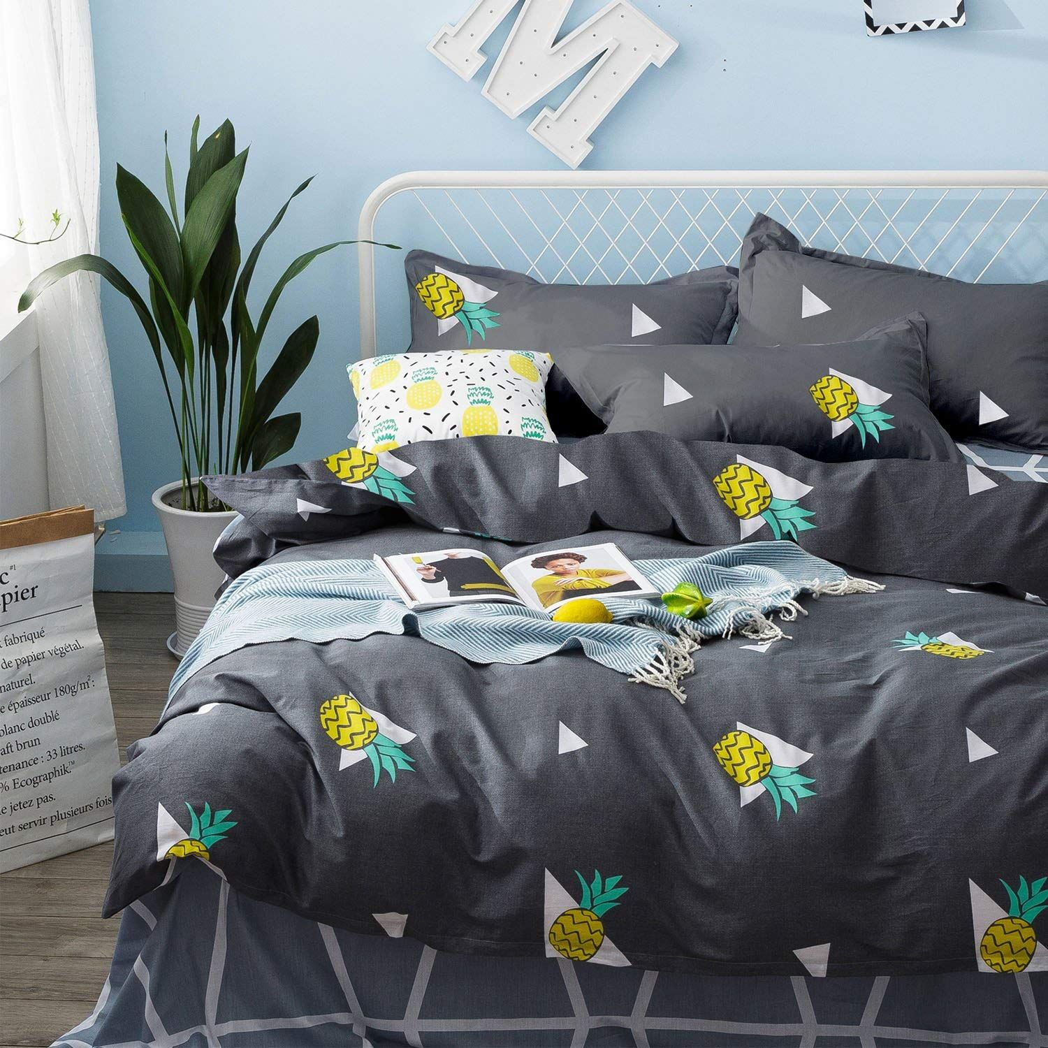 Pineapple Duvet Cover Set 100 Soft Cotton Bedding Yellow