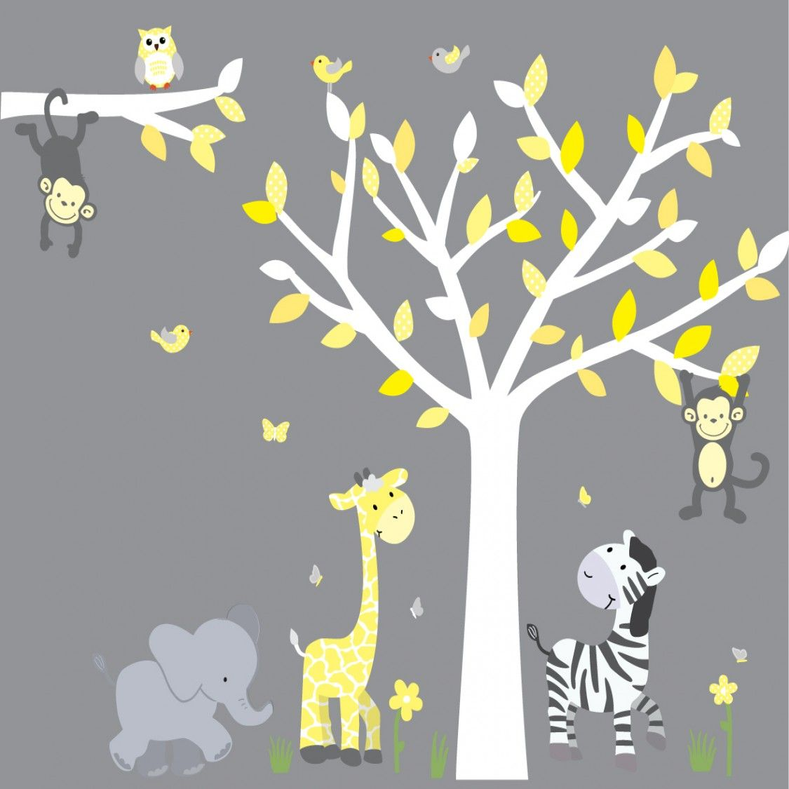 Yellow gray jungle stickers with elephant wall mural for kids yellow gray safari wall murals and tree decals for nursery will transform your walls quickly personalized wall decals for kids are simple using color my amipublicfo Image collections