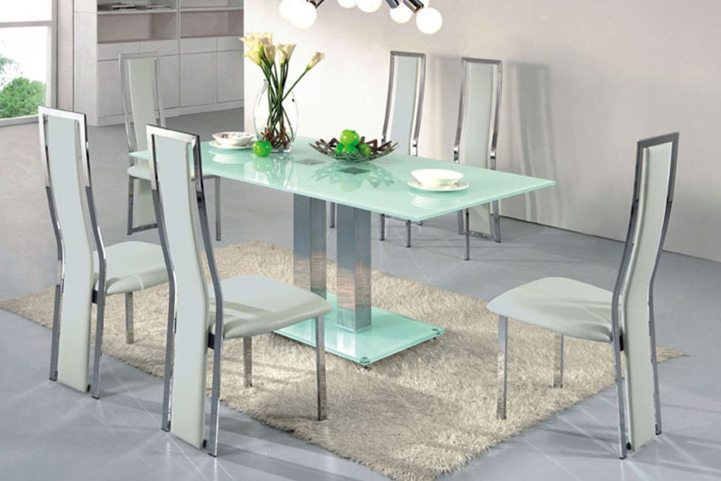 Furniture Modern Light Blue Tinted Glass Table Mixed Rectangle