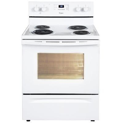 Whirlpool 4 8 Cu Ft Electric Range With Self Cleaning Oven In White Wfc310s0aw The Home Depot