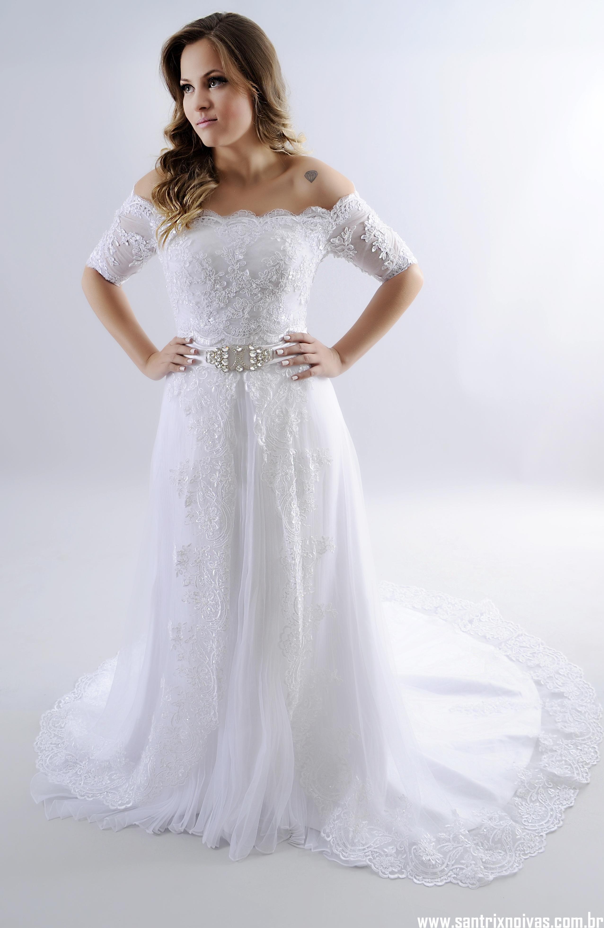 fd422a145 Vestido de Noiva Imperial em Renda - Aluguel ou Venda   Santrix Noivas