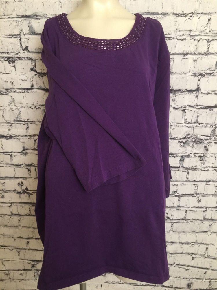 93c89d99398 Liz   Me For Catherines Plus Size Women 3X 26 28 Purple Top Scoop Neck  Shirt  LizMe  Top  Casual