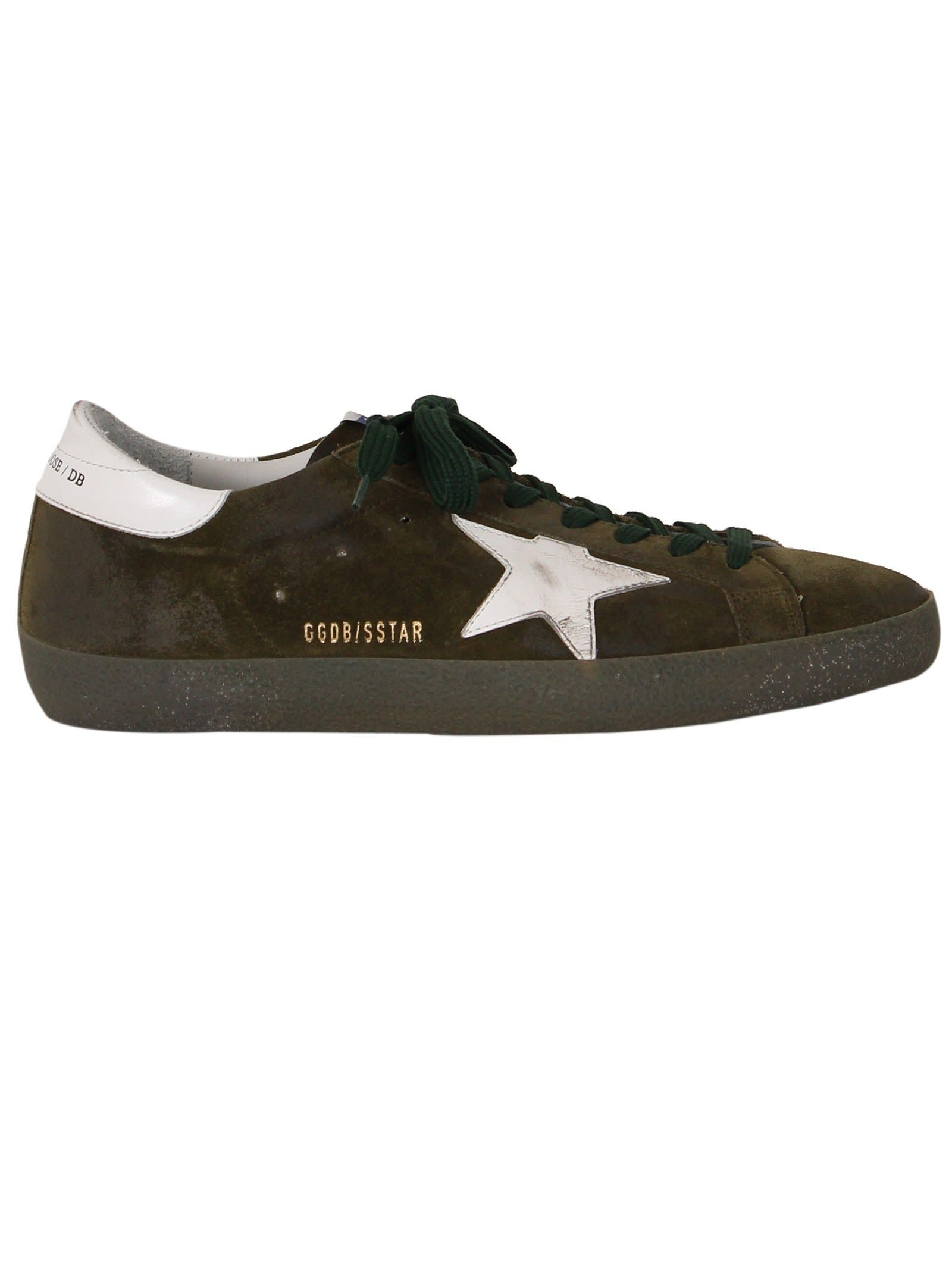 45a9149f87 GOLDEN GOOSE OLIVE SUEDE SUPERSTAR LOW SNEAKERS. #goldengoose #shoes ...