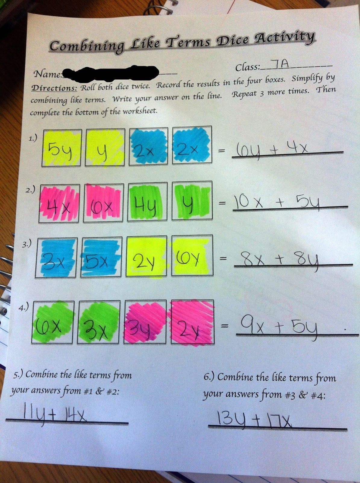 Middle School Math Madness!: Combining Like Terms Dice Activity ...
