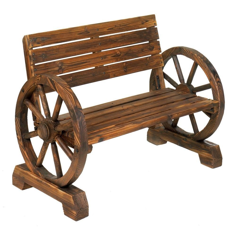 Wagon Wheel Bench Rustic Wooden Garden Wheels Armrest Bench New ...