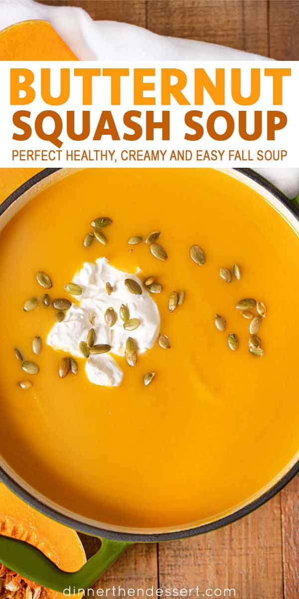 Easy Butternut Squash Soup (with Topping Ideas!) - Dinner, then Dessert