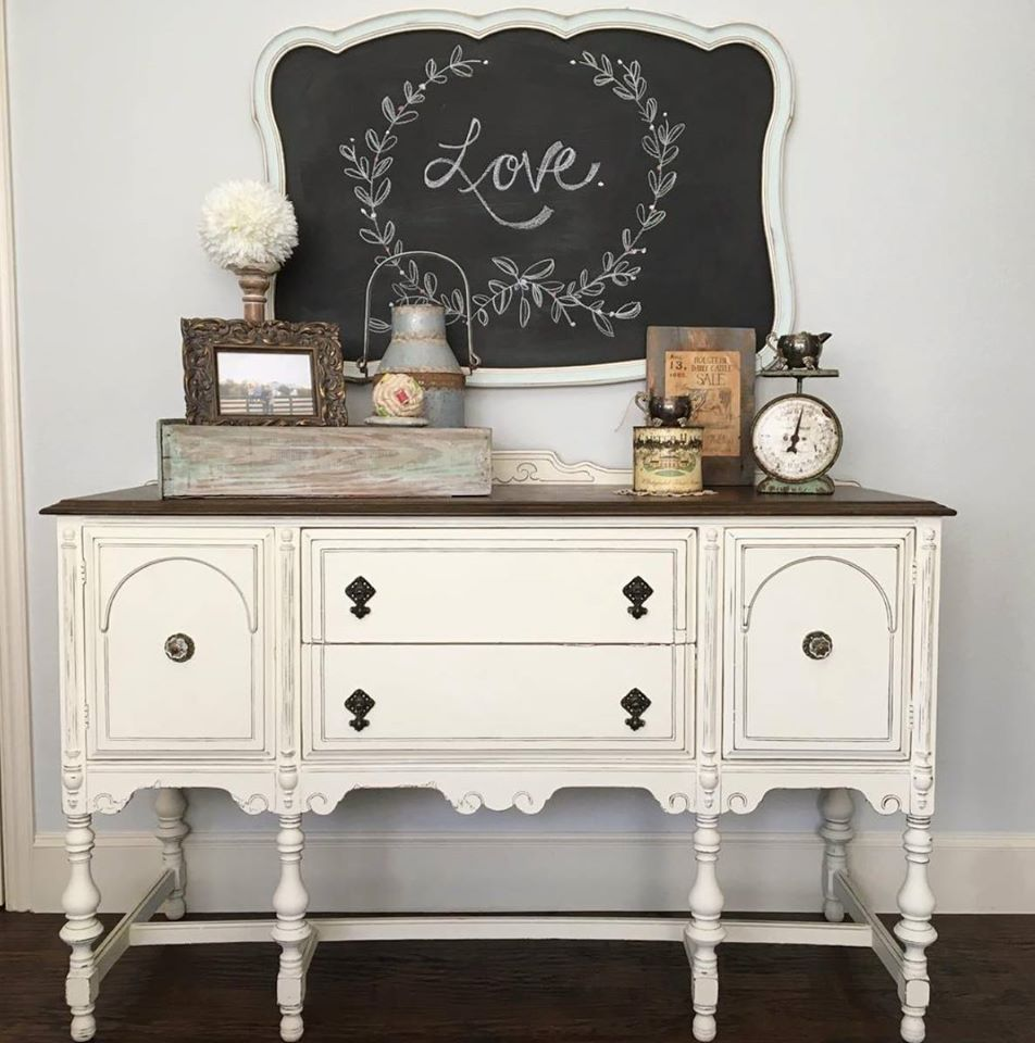 How to paint a vintage buffet home stories a to z - Lovely Buffet In Old White Chalk Paint Decorative Paint By Annie Sloan Project By