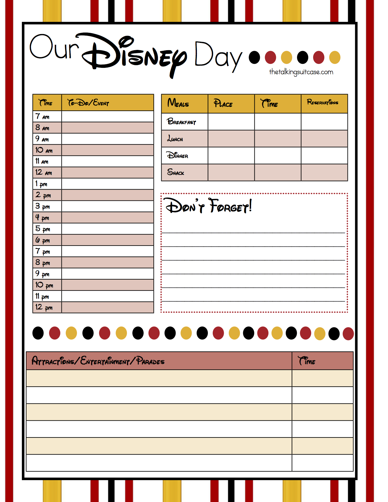 Free Printable Disney Vacation Planner  Walt disney world