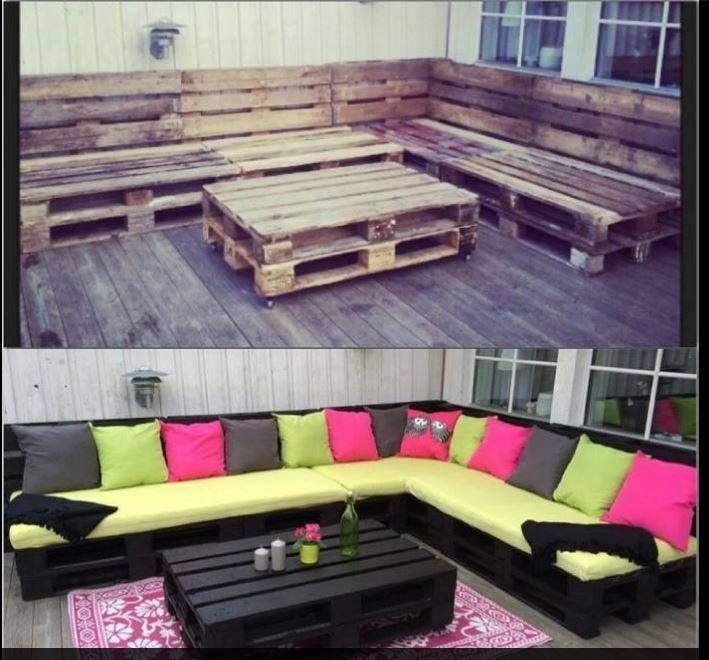Salon de jardin palette | Projets à essayer | Pinterest | Bricolage ...