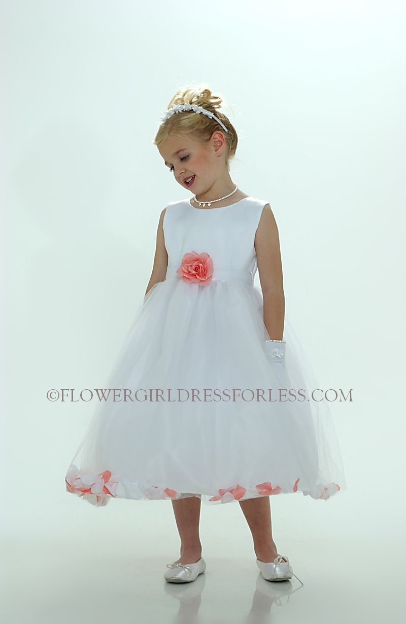 6887c2af274 Flower Girl Petal Dress- White or Ivory Sleeveless Satin And Tulle Petal  Dress With Coral Petals  49.99