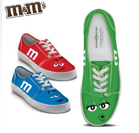 Limited Edition M & M's® sneakers, complete with a sparkly M & M's®