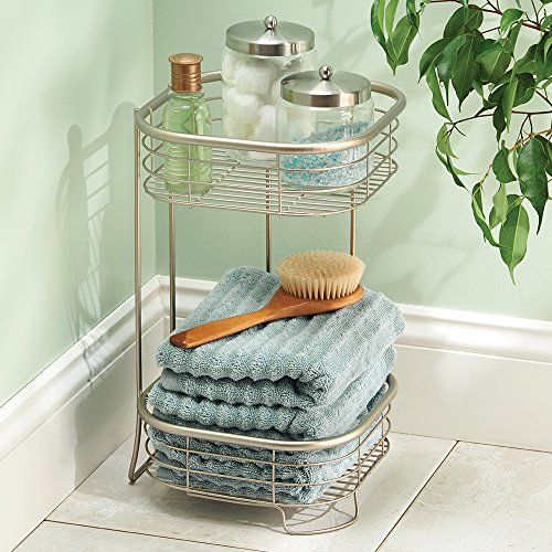 Free Standing Bathroom Or Shower Storage Shelves For Towels, Soap, Shampoo,  Lotion, Accessories   2 Tier, Satin