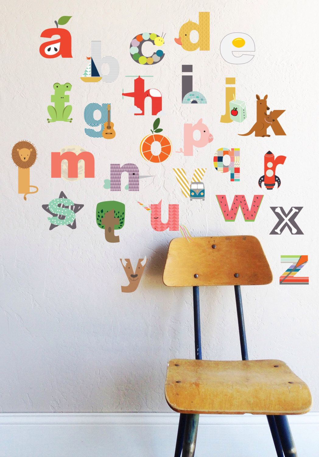 Wall Decal Interactive Lowecase Alphabet Wall Sticker Room