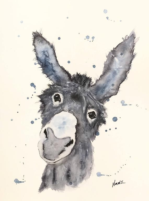 Donkey Watercolor Print. - Poster Aquarell DON. | Etsy - #donkey #IllustrationsPosters #Infographics #MoviePosters #print #watercolor