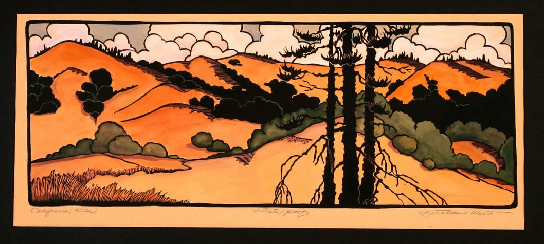 California hills arts crafts block print by kathleen for Arts and crafts style prints