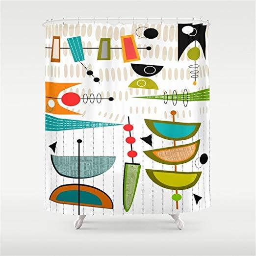 Amazon Com Huisfa Mid Century Modern Abstract Atomic Art Shower