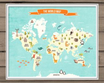 World Map Decal World Map Animals Animal World Poster Map - World map for kids room