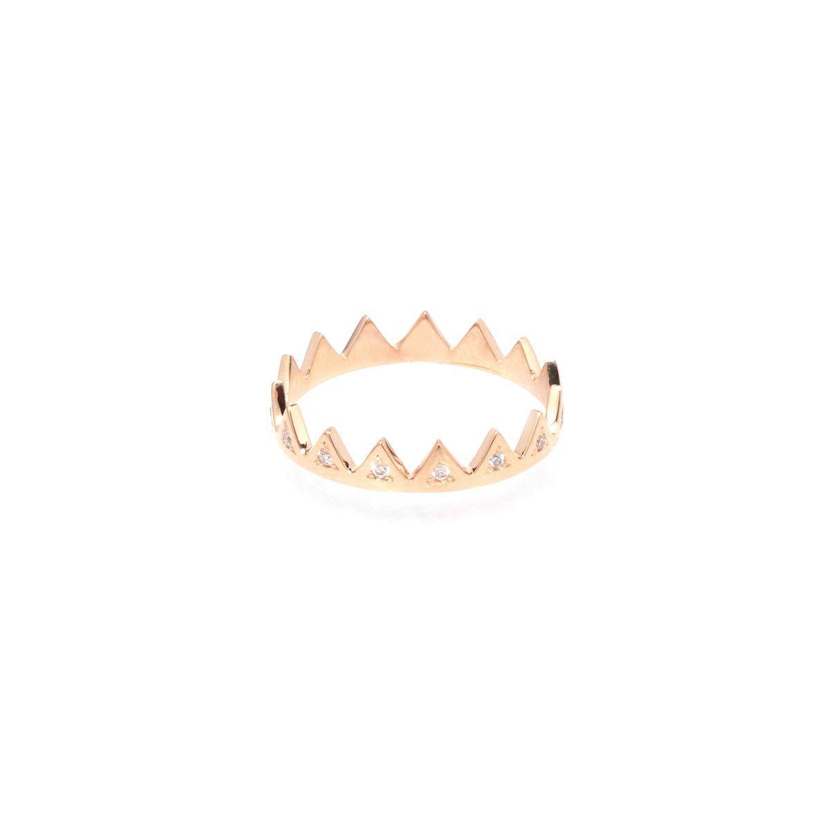14k white diamond crown ring