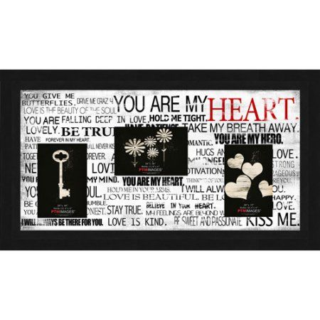 You Are My Heart III 20 inch x 10 inch Collage Picture Frame, Black