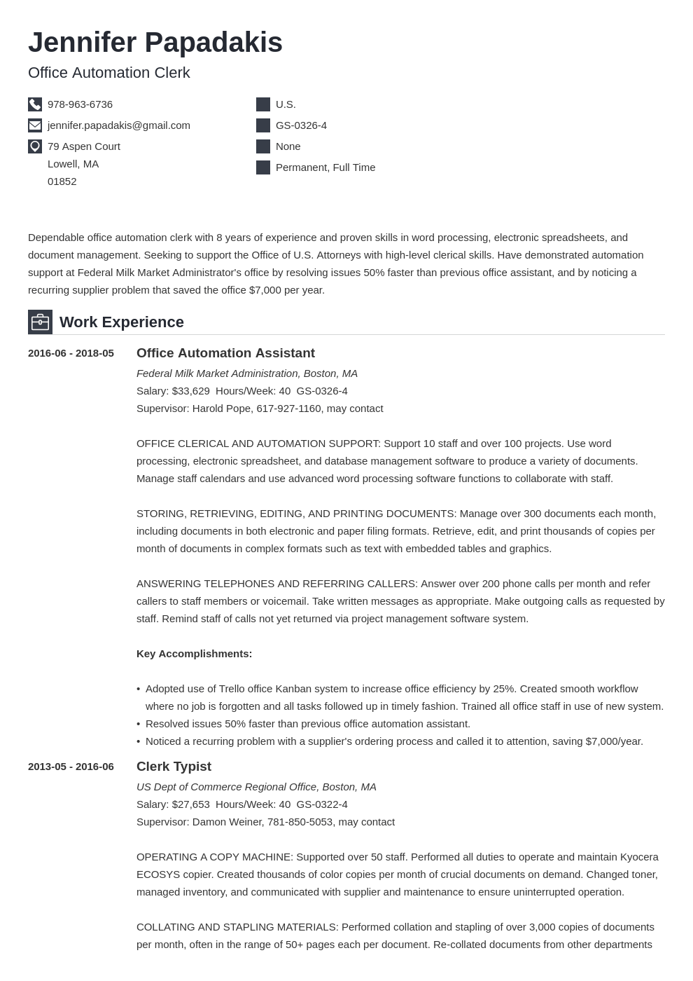 federal resume example template iconic  federal resume