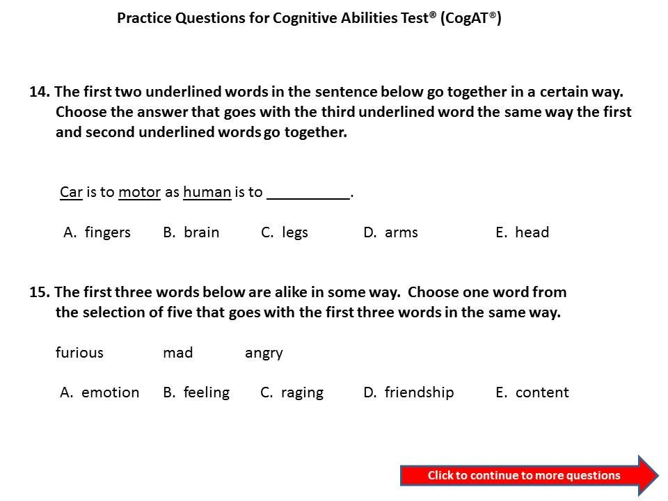 Free Practice Questions for CogAT® Test. Can your child answer ...