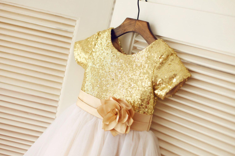 Gold sequin ivory tulle flower girl dress short sleeves children