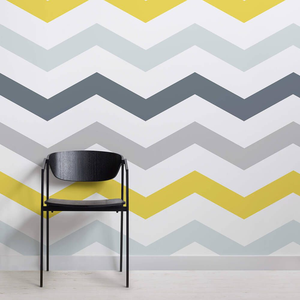 Yellow And Grey Chevron Wallpaper Mural Murals Wallpaper Grey Chevron Wallpaper Chevron Wallpaper Bedroom Yellow Grey Wallpaper