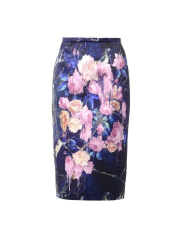 Floral-print satin pencil skirt | MSGM | MATCHESFASHION.COM