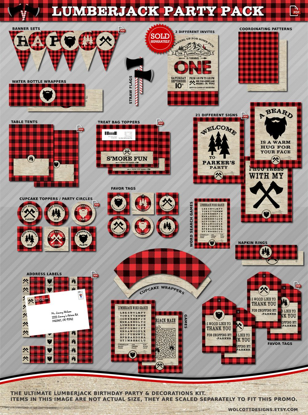 e182c36f61 DIY Lumberjack Party Decorations, Favors and more - Everything you need to  decorate for your lumberjack party. by #wolcottdesigns on Etsy