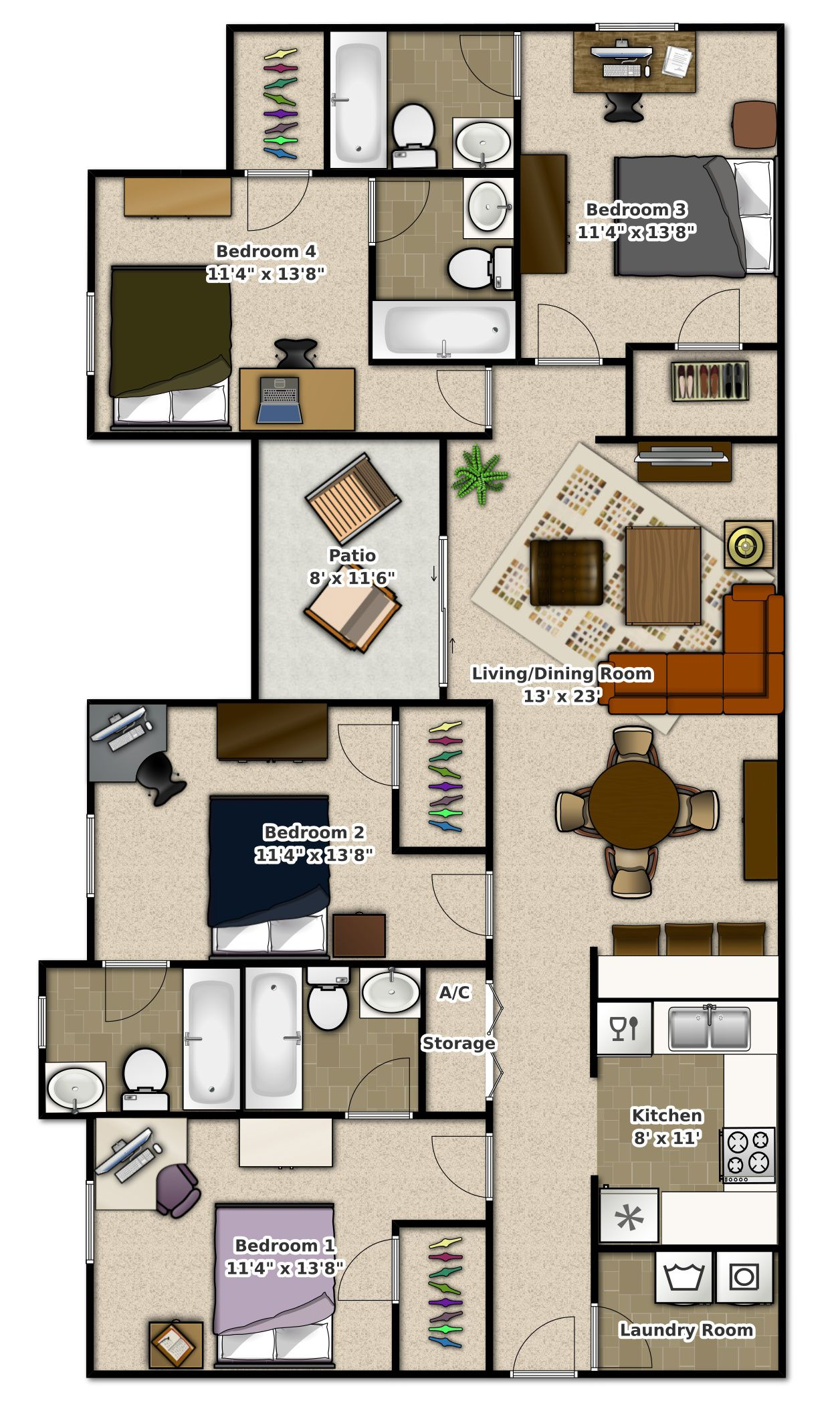 Phase bedroom apartment at stoneridge apartments