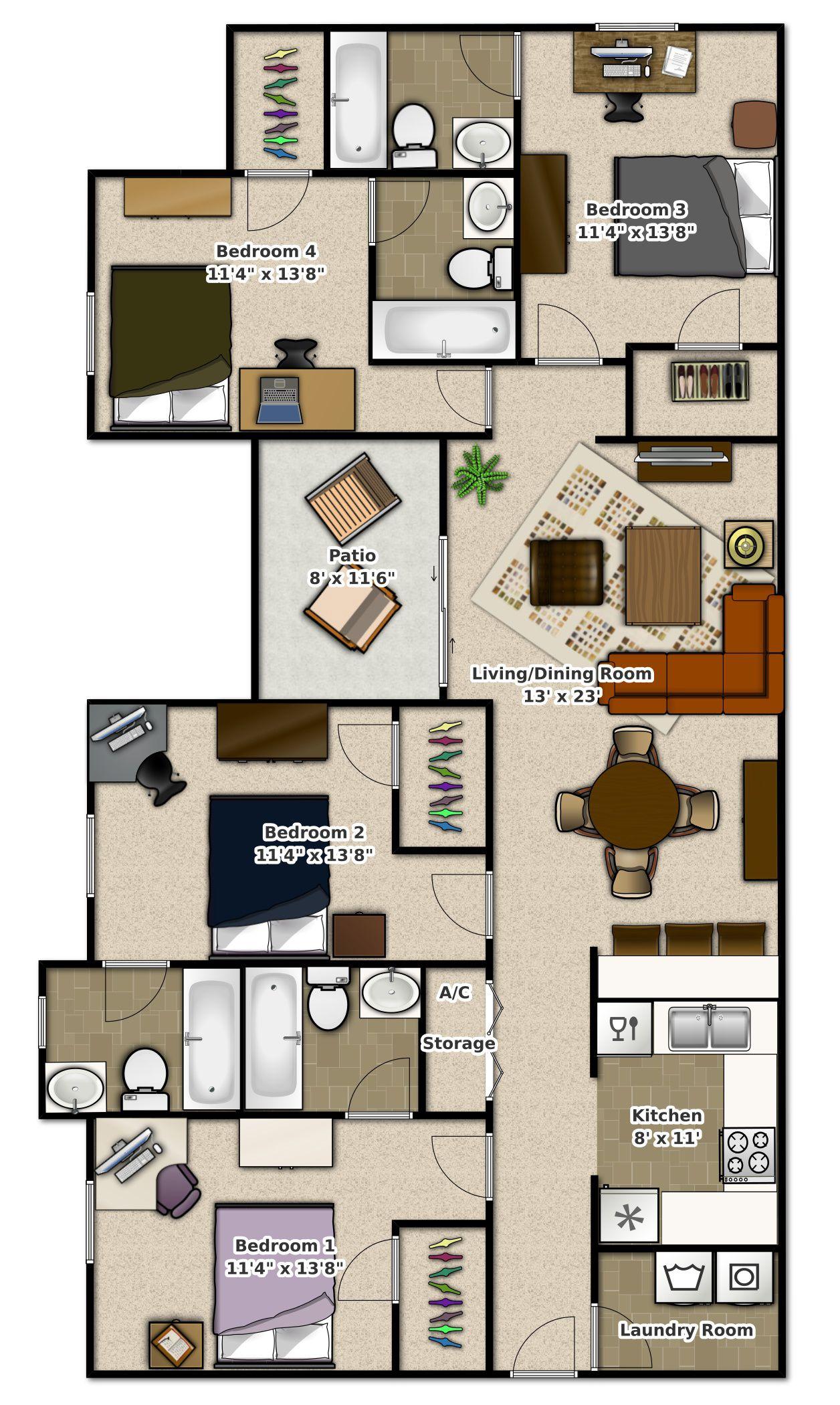 Phase 2 4 Bedroom Apartment At Stoneridge Apartments Gainesville Fl Bedroom Apartment Two Bedroom House