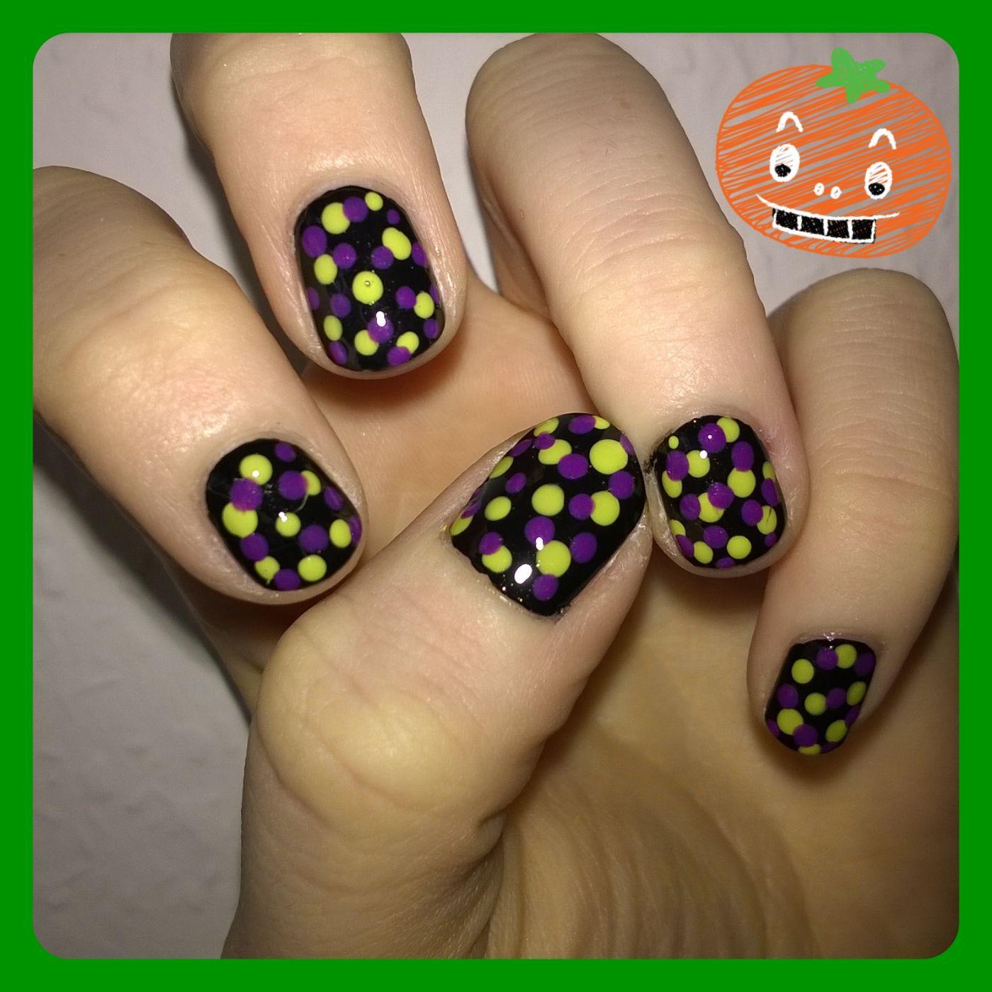Halloween Monster Dots Nail Art- easy, for beginners | Dot ...