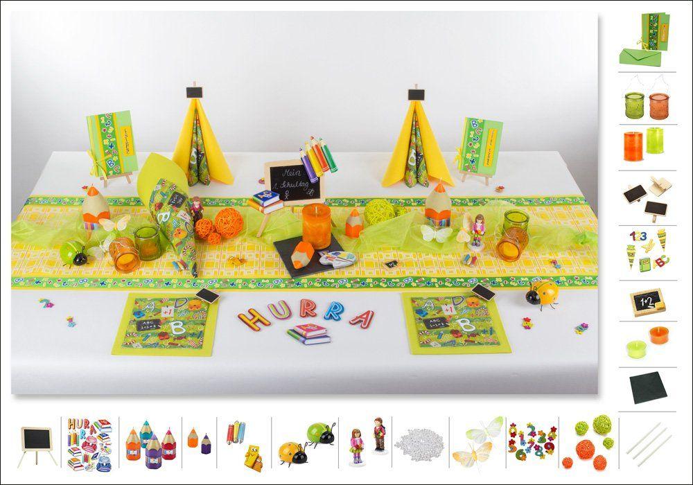 Tischdeko Einschulung 2 in Gelb als Mustertisch - Tafeldeko.de